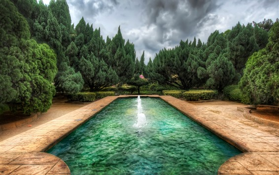 Wallpaper Park, pool, fountain, trees, clouds