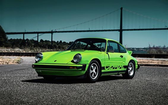 Fond d'écran Porsche 911 Carrera 1974 supercar verte