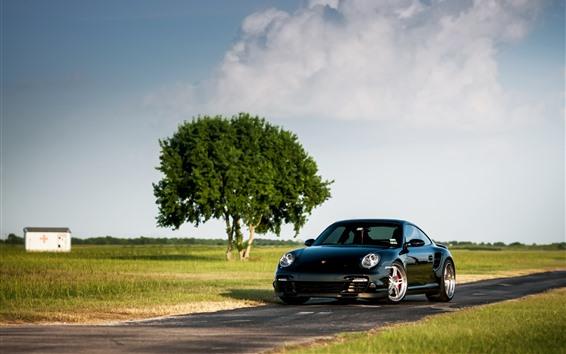 Fond d'écran Porsche 911 Turbo 997 Supercar noire, arbre