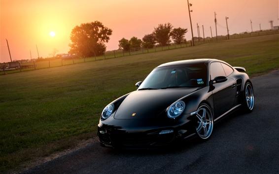 Fond d'écran Supercar Porsche 911 noire au coucher du soleil