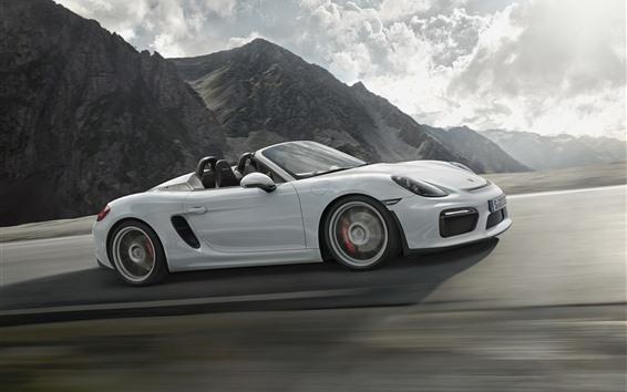 Fondos de pantalla Porsche boxster spyder 981 blanco convertible velocidad