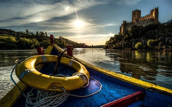 Fond d'écran Portugal, château, bateau, rivière