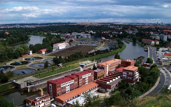 壁紙 プラハ、チェコ共和国、都市、川、雲