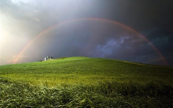 Fondos de pantalla Arco iris, campo de trigo, nubes, casa, tormenta