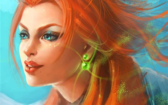 壁紙 赤い髪のファンタジー少女、青い目、顔
