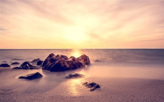 Wallpaper Rocks, sands, sea, fog