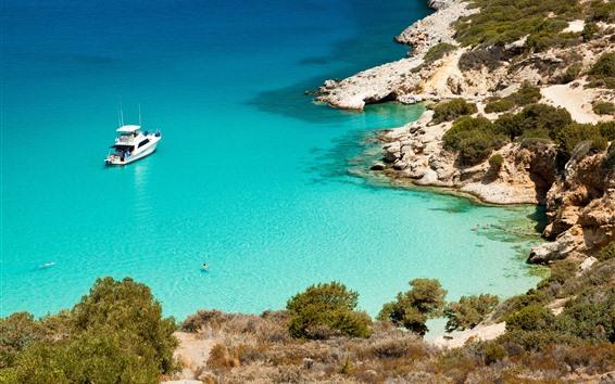 Wallpaper Sea, blue water, coast, yacht