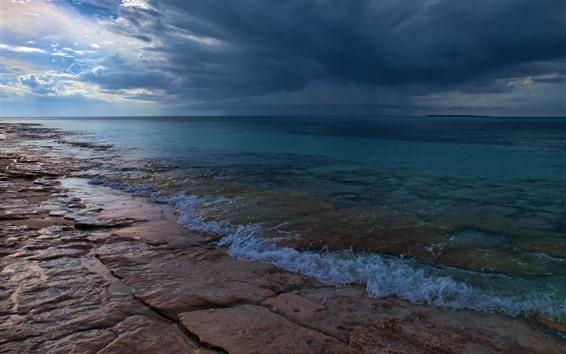 壁纸 海洋,海岸,多云的天空,黄昏