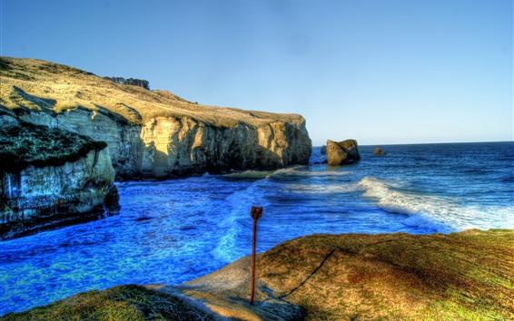 Wallpaper Sea, rocks, HDR style