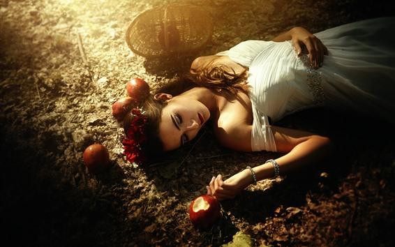 Fond d'écran Blanche-Neige, fille, pommes, conte de fées