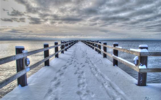 Обои Снег, мост, пирс, море, зима