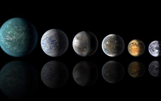 Wallpaper Solar System, six planets, black background