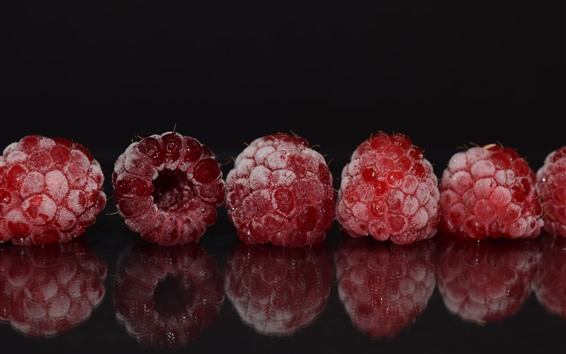 Wallpaper Some raspberries, frost, glass, reflection