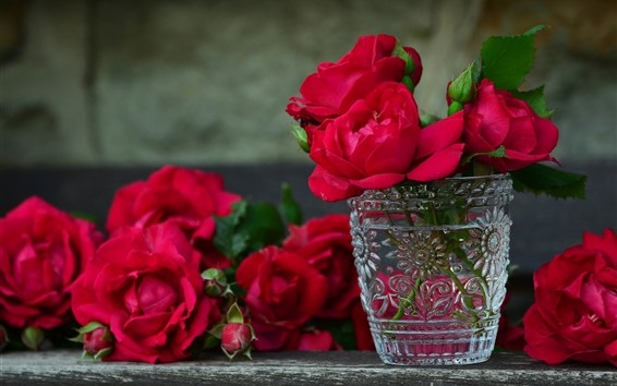 Wallpaper Some red roses, vase, glass cup