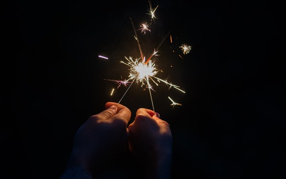 Wallpaper Sparks, fireworks, two hands, night