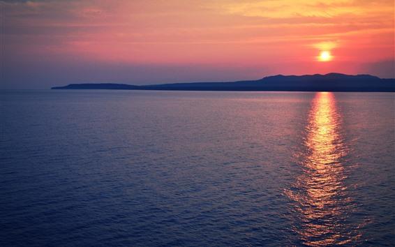 Wallpaper Sunset, sea, water reflection, dusk