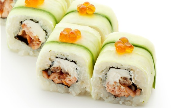 Wallpaper Sushi roll, rice, Japanese food, white background