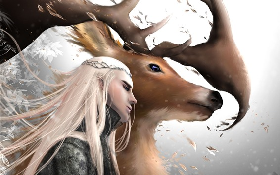 Wallpaper The Hobbit, elf, deer, horns, art picture