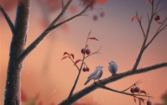 Papéis de Parede Dois pássaros, árvore, imagens de arte