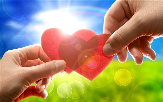 Wallpaper Two red love hearts, hands, sunshine, glare