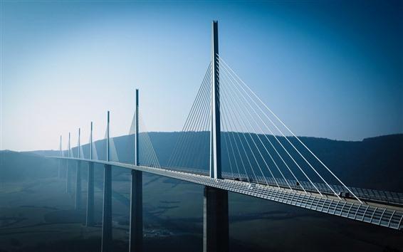 Wallpaper Viaduct bridge, height, morning