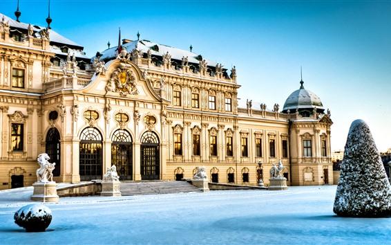 Papéis de Parede Viena, Áustria, Palácio Belvedere, neve, inverno