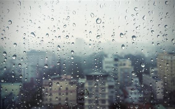 Wallpaper Window, glass, rain, water droplets