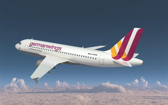 Hintergrundbilder Flug des weißen Flugzeugs Airbusses A320