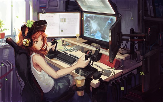 Wallpaper Anime girl play PC games