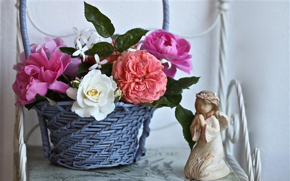 Fond d'écran Panier, roses, figurine ange