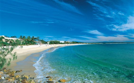 Fondos de pantalla Hermosa playa, mar azul, costa, cielo, nubes