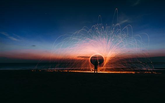 Wallpaper Beautiful fireworks, sparks, night, sea