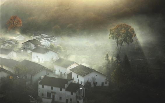 壁纸 美丽的村庄在早晨,太阳光线,树木,石城,中国