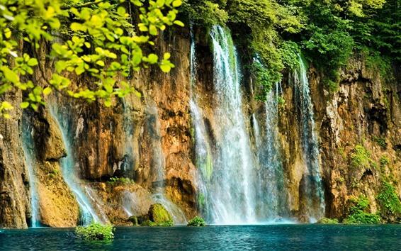 Wallpaper Beautiful waterfalls, bushes, water splash