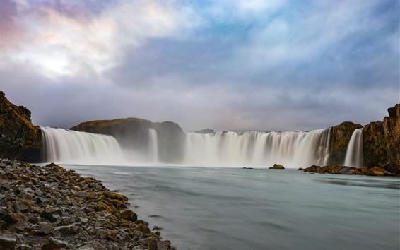 Wallpaper Beautiful waterfalls, water, clouds, stones, Iceland
