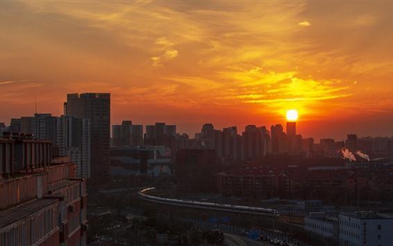 Обои Пекин, Китай, город, закат, скоростной рельс, поезд