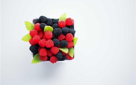 Wallpaper Blackberries and red raspberries, berries