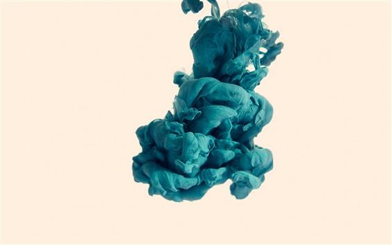 Fond d'écran Fumée bleue, abstrait, fond blanc