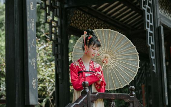Papéis de Parede Menina chinesa, hanfu, guarda-chuva