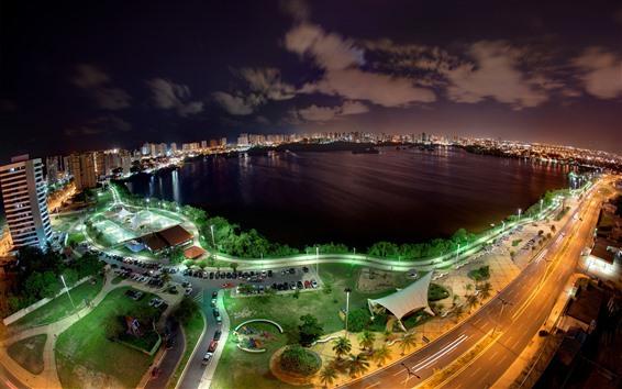 Обои Городская ночь, вид сверху, машины, дороги, залив, озеро, огни