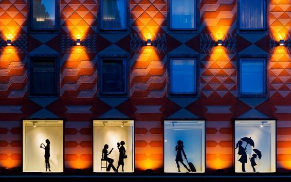 Papéis de Parede Noite da cidade, parede, janela, silhueta, meninas
