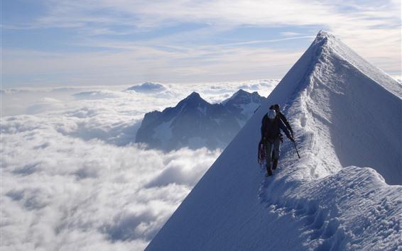 Papéis de Parede Alpinistas, neve, pico, inverno