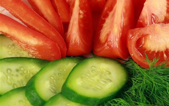 Papéis de Parede Fatias de pepino e tomate