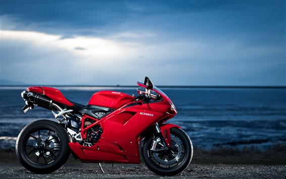 Wallpaper Ducati 1098 red motorcycle, sea