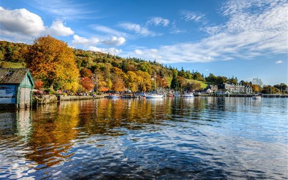 Wallpaper England, Ambleside, river, houses, trees, autumn