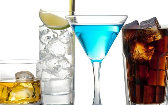 Fondos de pantalla Cuatro tazas de bebidas, colores, fondo blanco.