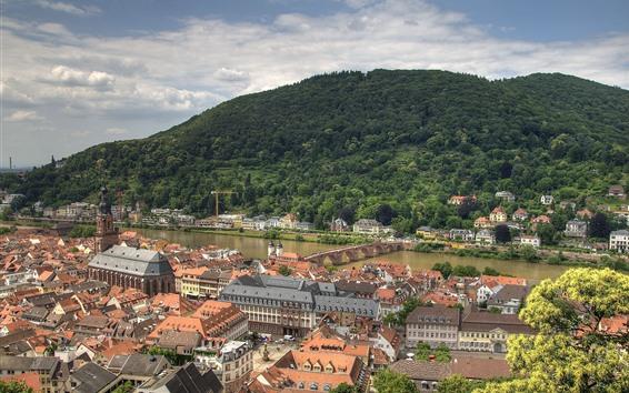 Wallpaper Germany, Heidelberg, city, river, bridge, mountain