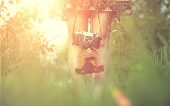 Обои Девушка, ножки, фотоаппарат, трава, дымка, солнышко