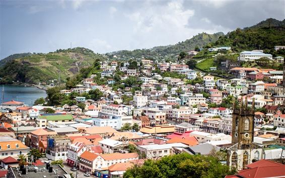Обои Гренада, город, дома, горы, море