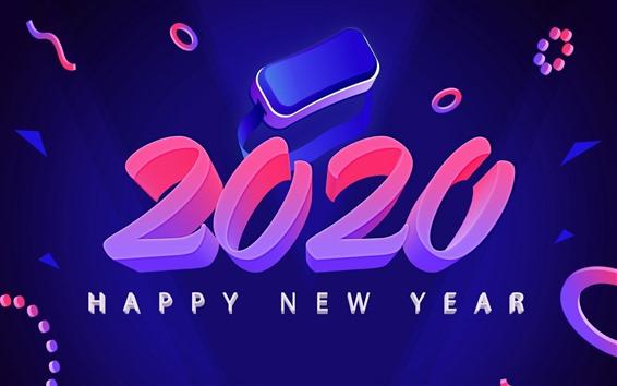 Papéis de Parede Feliz Ano Novo 2020, imagens de arte, criativas